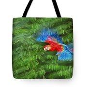 Scarlet Macaw Juvenile In Flight Tote Bag
