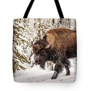 Scary Bison Tote Bag