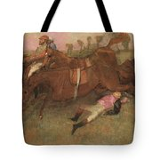 Scene From The Steeplechase The Fallen Jockey Tote Bag