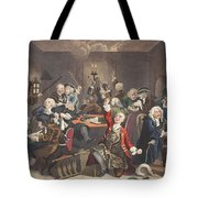 Scene In A Gaming House, Plate Vi Tote Bag by William Hogarth