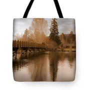 Scenic Golden Wooden Bridge Tree Reflection On The Deschutes River Tote Bag