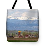 Scenic View Looking Over Anderson Farms Up To Rockies Tote Bag