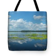 Scenic View Of A Lake Against Cloudy Tote Bag