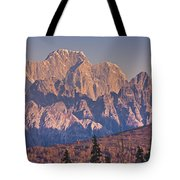 Scenic View Of Sunrise On Mooses Tooth Tote Bag