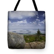Scenic View With Boulder On Top Of Cadilac Mountain Tote Bag