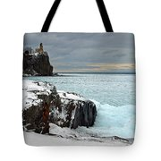 Scenic Winter Lighthouse Tote Bag