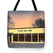 School Bus Repair Shop Tote Bag
