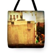 School Bus With White Building Tote Bag