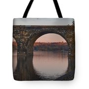 Schuylkill River Railroad Bridge In Autumn Tote Bag