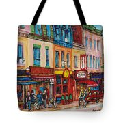 Schwartzs Deli And Warshaw Fruit Store Montreal Landmarks On St Lawrence Street  Tote Bag