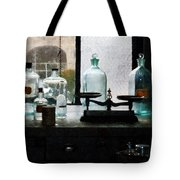 Science - Balance And Bottles In Chem Lab Tote Bag