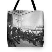 Scientists With Microscopes Tote Bag
