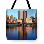 Scioto River And Columbus Ohio Skyline Tote Bag