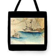 Scooter Fishing Boat Nautical Chart Map Art Tote Bag