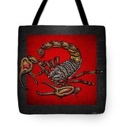 Scorpion On Red And Black Leather Tote Bag