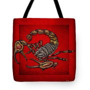 Scorpion On Red Tote Bag