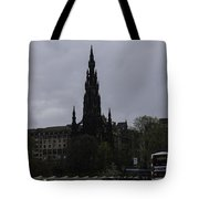 Scott Monument Next To Waverley Train Station And With Sightseeing Buses Tote Bag