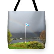 Scottish Flag With A Rainbow Tote Bag