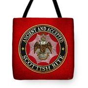 Scottish Rite Double-headed Eagle On Red Leather Tote Bag