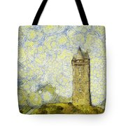 Starry Scrabo Tower Tote Bag