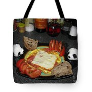 Scrambled Eggs Salami And Cheese For Breakfast. Travelling Baby Pandas Series. Tote Bag