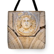 Sculpted Medusa Head At The Forum Of Severus At Leptis Magna In Libya Tote Bag