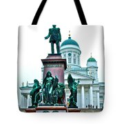 Sculpture Of Alexander II In Cathedral Of Helsinki-finland Tote Bag