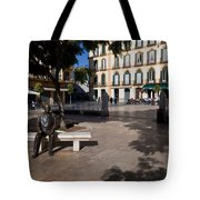 Scupture Of Picasso On The Plaza De La Tote Bag