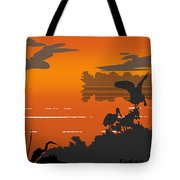 Abstract Tropical Birds Sunset Large Pop Art Nouveau Landscape 4 - Right Side Tote Bag