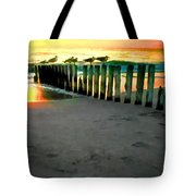 Sea Gulls On Pilings At Sunset Tote Bag