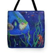 Sea Horse And Blue Fish Tote Bag