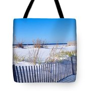 Sea Oats And Fence Along White Sand Tote Bag