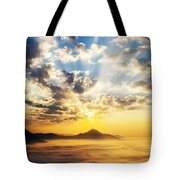 Sea Of Clouds On Sunrise With Ray Lighting Tote Bag