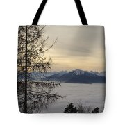 Sea Of Fog In Sunset Tote Bag