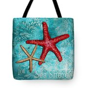 Sea Shore Original Coastal Painting Colorful Starfish Art By Megan Duncanson Tote Bag