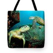 Sea Turtle Oil On Canvas Tote Bag
