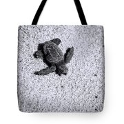 Sea Turtle In Black And White Tote Bag