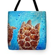 Sea Turtles Swimming Towards The Light Together Tote Bag