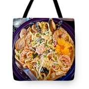 Seafood Fetticinni Alfredo At Cafe Cups Restaurant In Homer-ak   Tote Bag