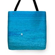 Seagull Cruising Over Azure Blue Sea Tote Bag