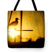 Seagull In Harbor Sunset Tote Bag