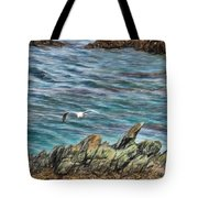 Seagull Over Rocks Tote Bag