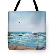 Seagull Over The Ocean Tote Bag
