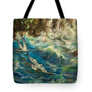 Seagulls Over The Rough Sea Tote Bag