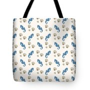 Seahorse And Shells Pattern Tote Bag