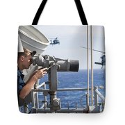 Seaman Apprentice Stands Watch Aboard Tote Bag by Stocktrek Images