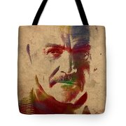 Sean Connery Actor Watercolor Portrait On Worn Distressed Canvas Tote Bag