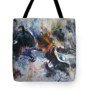 Seascape Abstract Painting Blue Purple Orange Acrylic Painting Tote Bag
