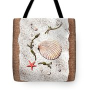 Seashell With Pearls Sea Star And Seaweed  Tote Bag