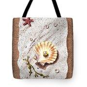 Seashell With The Pearl Sea Star And Seaweed  Tote Bag